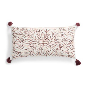 Space dyed embroidered accent pillow photo