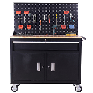 Frontier Mobile Workstation with Tool Cabinet and Pegboard photo