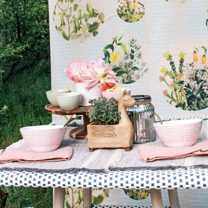 Dotted table pattern with floral wallpaper background and patterned tableware. photo