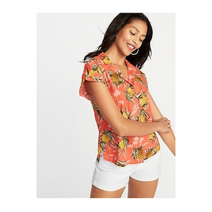 Old Navy Printed Button-Front Shirt for Women photo