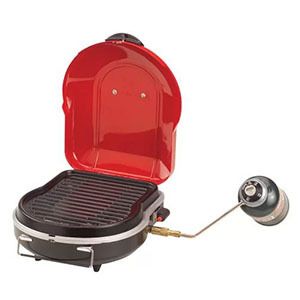 Small red propane grill photo