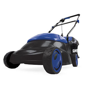 Blue and black lawnmower photo