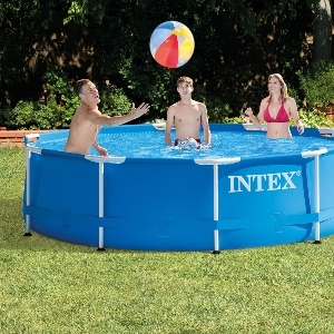 A group of people plays a game in an Intex Above Ground Swimming Pool photo