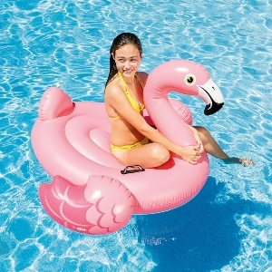 A girl rides on a pink flamingo-shaped pool float photo