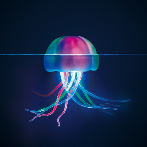 A multicolored jellyfish-shaped floating pool light photo