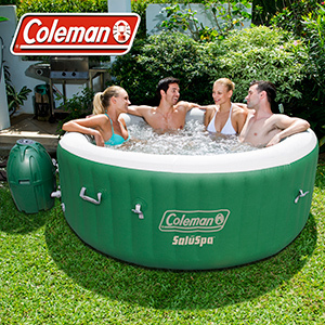 Large green hot tub with four people sitting in it photo