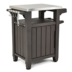 All-purpose outdoor serving station in dark brown with a stainless steel tabletop photo