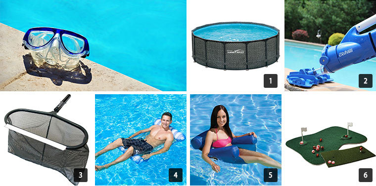 Seven images in a collage showing a variety of pool items from The Home Depot. photo