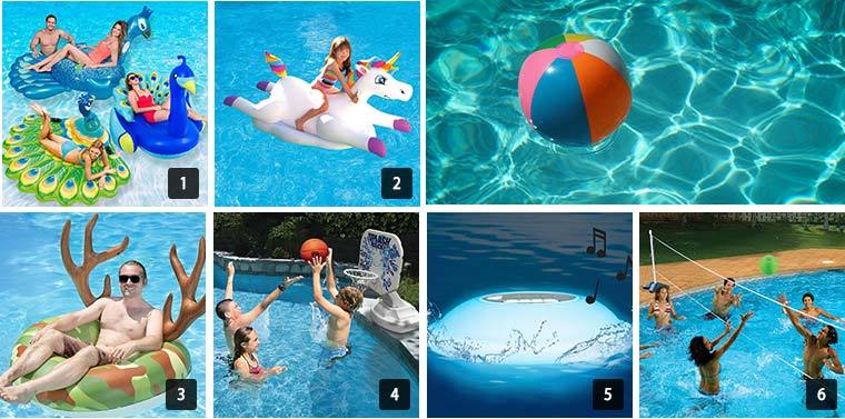 Seven images that show people using a variety of pool supplies and accessories. photo