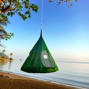 Hanging tent hammock with mesh sides photo