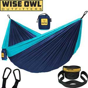 Blue nylon double hammock with straps and carrying case photo