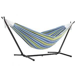 Colorful striped hammock with steel stand photo
