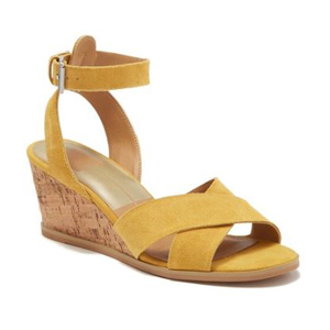 Yellow suede cork wedge with ankle strap. photo