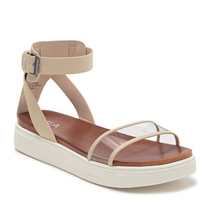 White ankle strap sandals with transparent top strap. photo