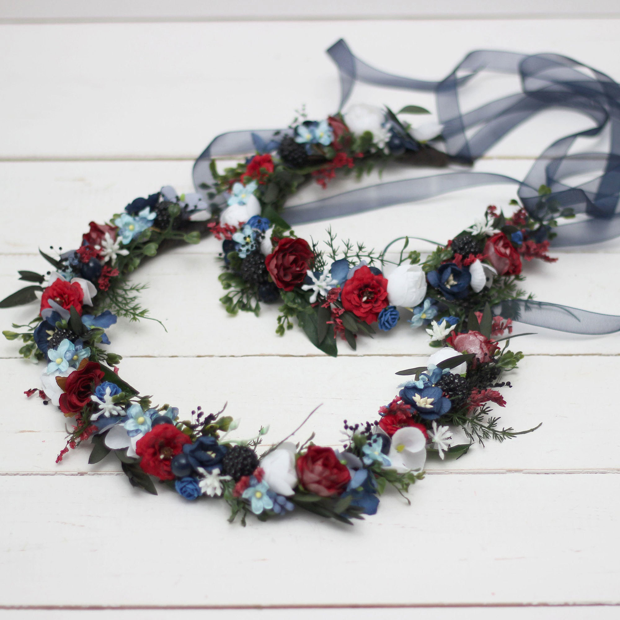 Navy, Red, White Floral Wreath Etsy photo