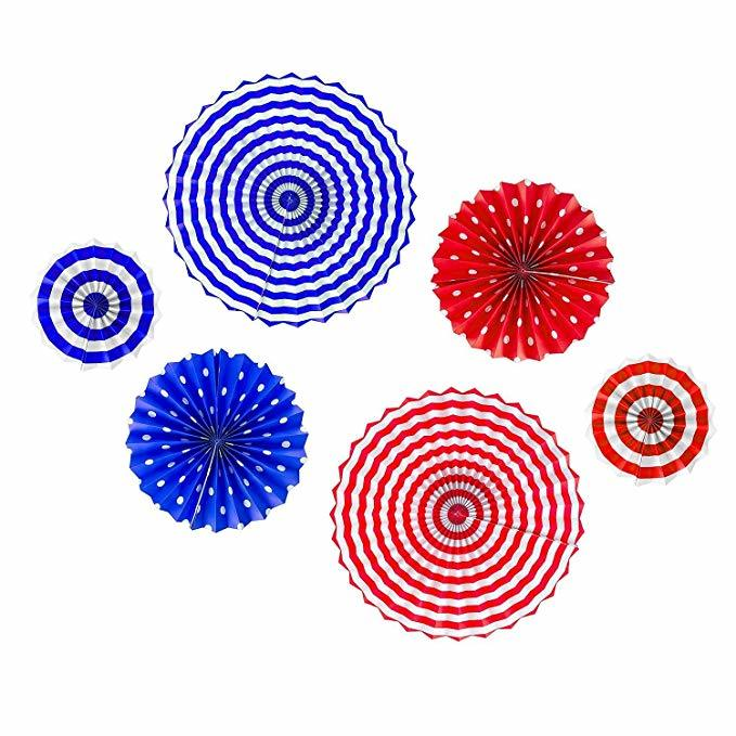 Red, white, and blue Paper Fans Amazon photo