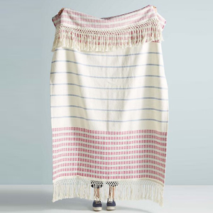 Lightweight throw blanket featuring a colorful stripe pattern photo