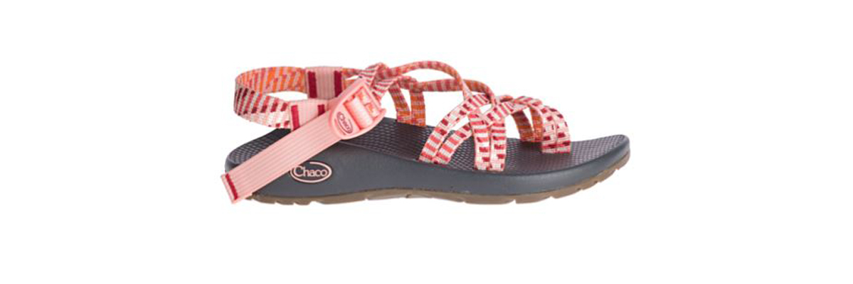Chaco sandals with a pink striped design photo