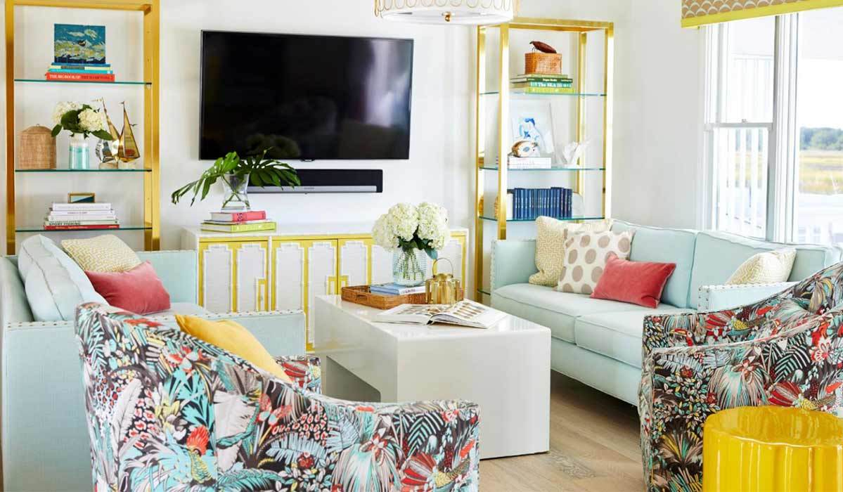 Living room with mint and yellow accents photo