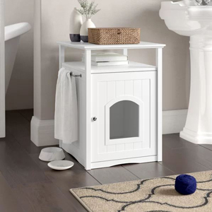 White litter box in closure with towel bar photo