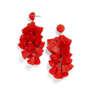 Red earrings with tassels photo