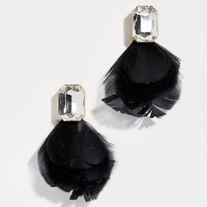 Black jewel stud earrings with feathers photo