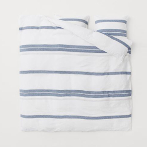 White and blue striped duvet cover photo