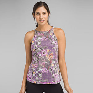 Purple tank top with floral print photo