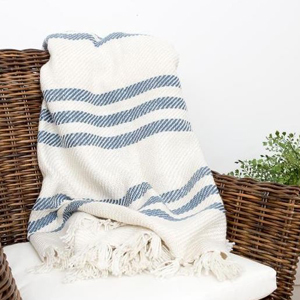 Blue and white stripe outdoor throw blanket photo