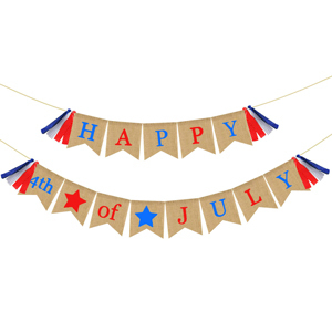 Fourth of July decorative banner with red and blue text. photo