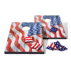 Stars and stripes print bean bag boards with stars and stripes print bean bags. photo