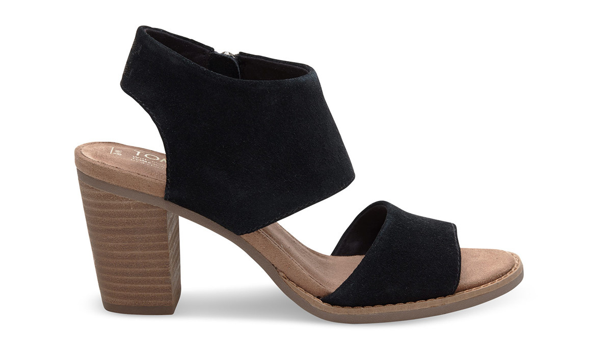 Black suede TOMS Majorca Cutout Sandals with stacked wood heel photo