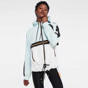 Light blue and white jacket from Bandier photo