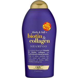 Biotin and collagen shampoo in a purple and gold bottle. photo