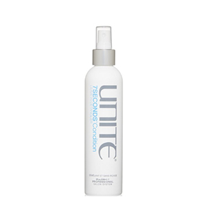 Unite 7Seconds leave-in detangler spray in a white spray bottle with gray and blue font photo