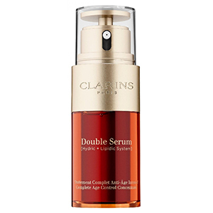 Orange and gold bottle of Clarins Double Serum Complete Age Control Concentrate photo