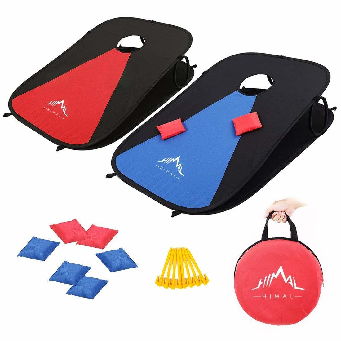 Himal Collapsible Portable Corn Hole Boards with 8 Cornhole Bean Bags photo