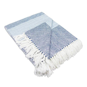 Blue and white throw blanket with fringe details photo