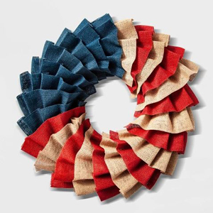 Red, white, and blue burlap wreath photo
