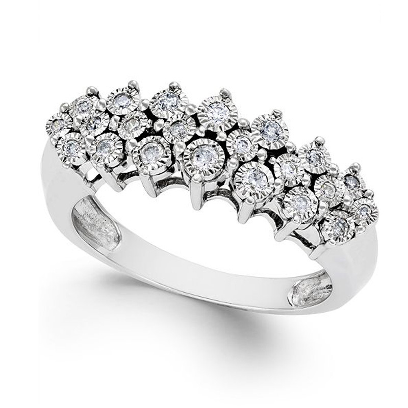 Diamond Pyramid Ring (1/5 ct. t.w.) in Sterling Silver macy's photo