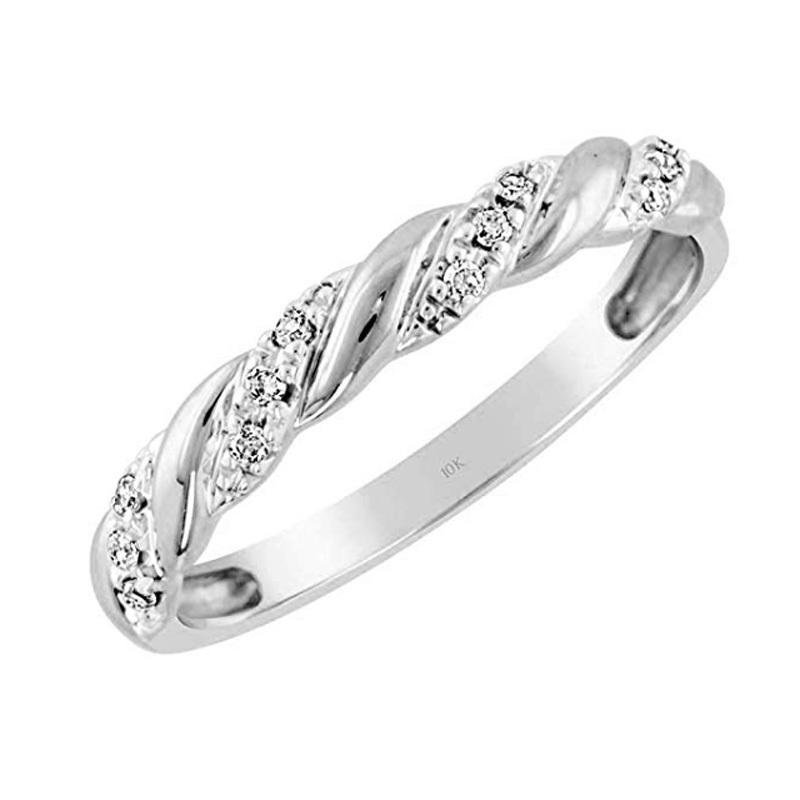 Brilliant Expressions Conflict-Free Diamond-Accented Twist Wedding Band amazon photo