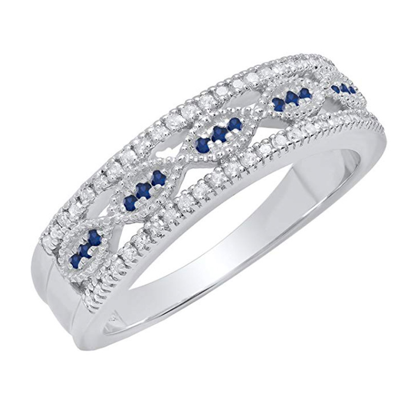 Dazzlingrock Collection Ladies Vintage Style Wedding Band in Sterling Silver amazon photo