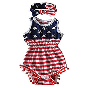 For Toddler Girls: Stars and Stripes Romper with Tassels photo
