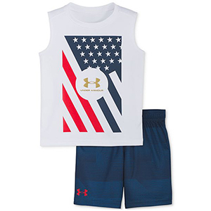 For Little Boys: Under Armour 2-Piece Red White & Blue Tank & Short Set photo