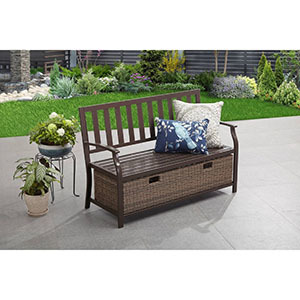 Better Homes & Gardens Camrose Farmhouse Outdoor Bench with Storage photo