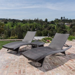 Outdoor Brown 3-Piece Wicker Adjustable Chaise Lounge Set photo