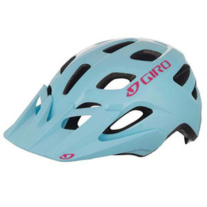 Light blue cycling helmet with pink accents photo