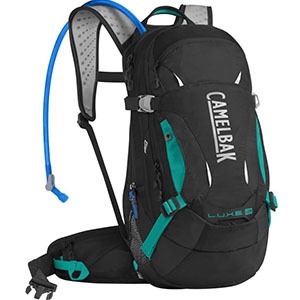 Black water pack backpack with aqua accents and an over-the-shoulder drinking tube photo