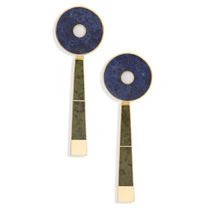 Dark blue and green stone art deco earrings with gold detailing photo