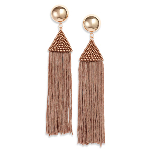 Taupe and gold long beaded fringe earrings photo